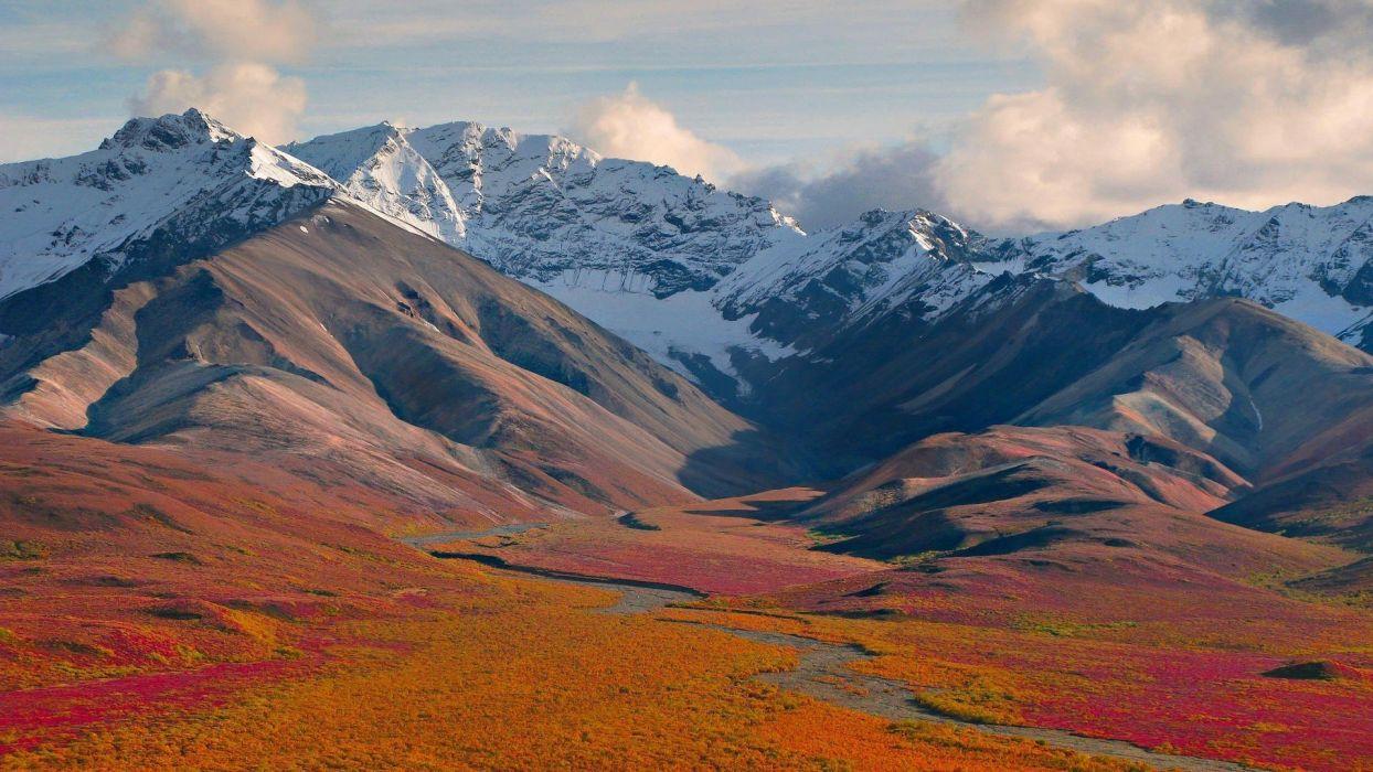 mountains snow landscape clouds wallpaper