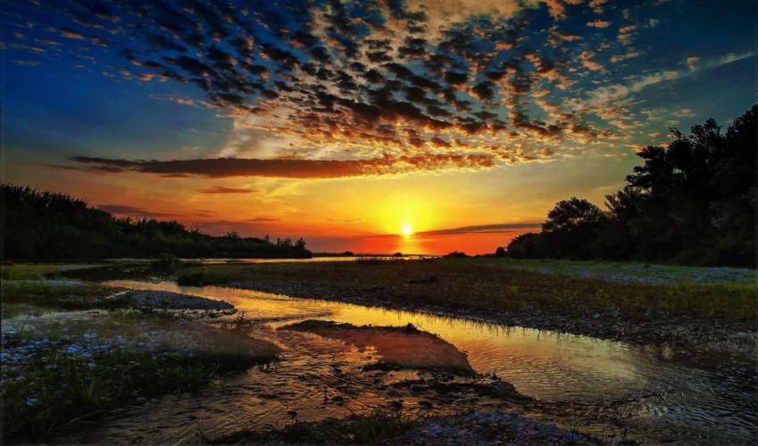 river forest sun sunrise wallpaper