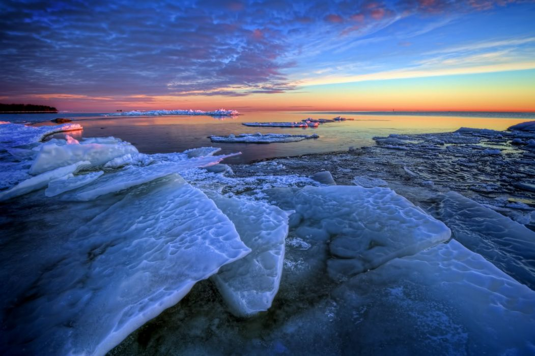 sea ice floes morning winter dawn wallpaper
