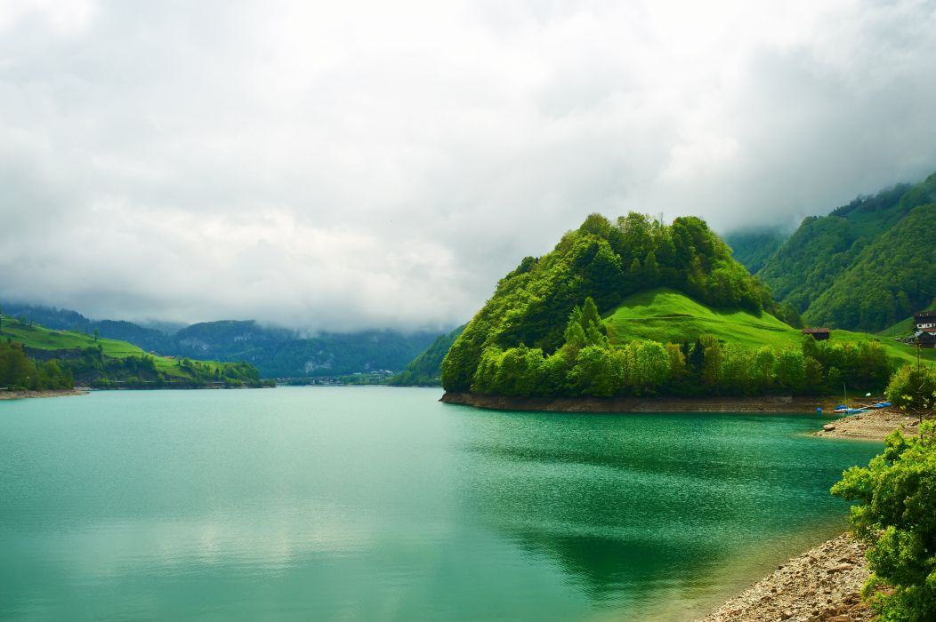 switzerland emerald mountain lake landscape beautiful nature wallpaper