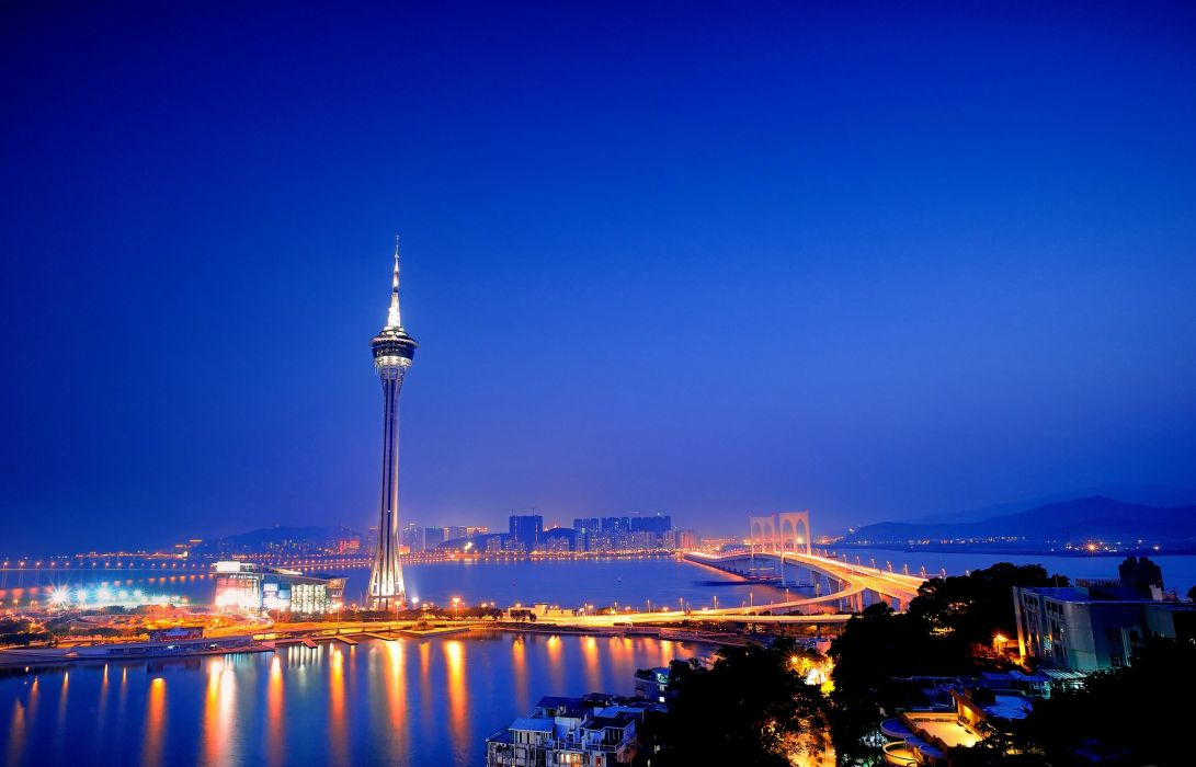 aomyn city Macau Tower China wallpaper