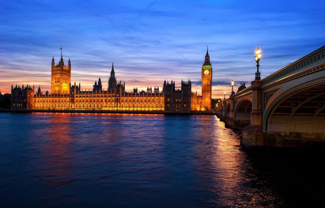 bridge river england london evening wallpaper