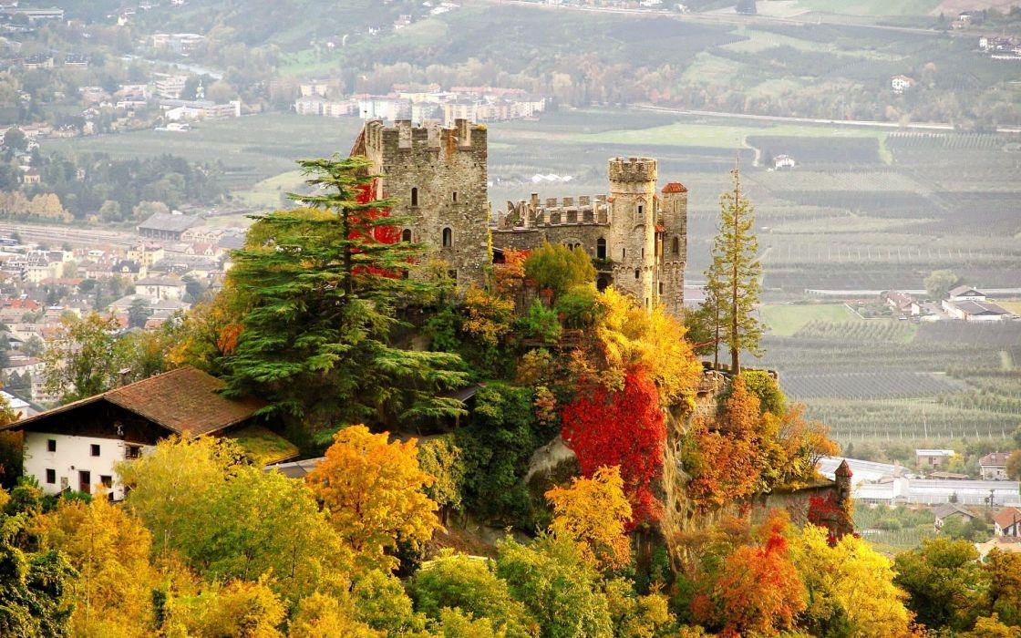 castle italy city fall brunnenburg autumn wallpaper