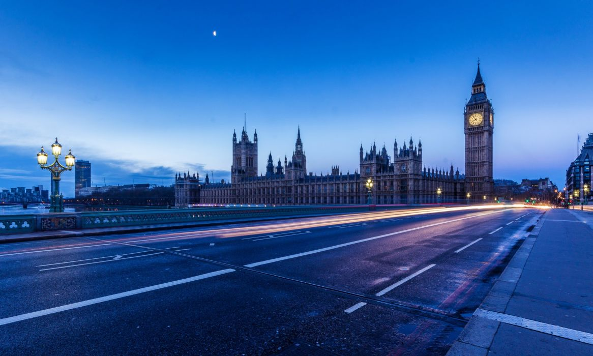England Bridges Roads London Night Big Ben Cities wallpaper
