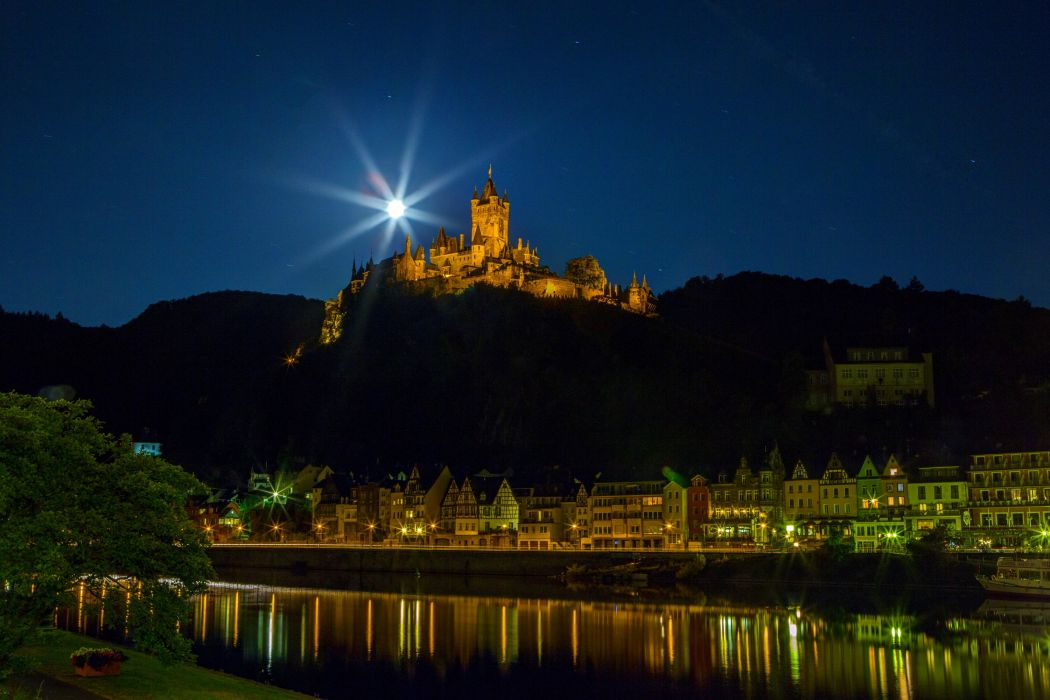 Germany Castle Houses Rivers Cochem Night Moon wallpaper