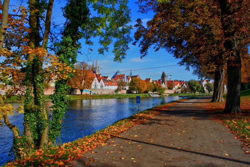 germany city Bavaria Ulm autumn river wallpaper