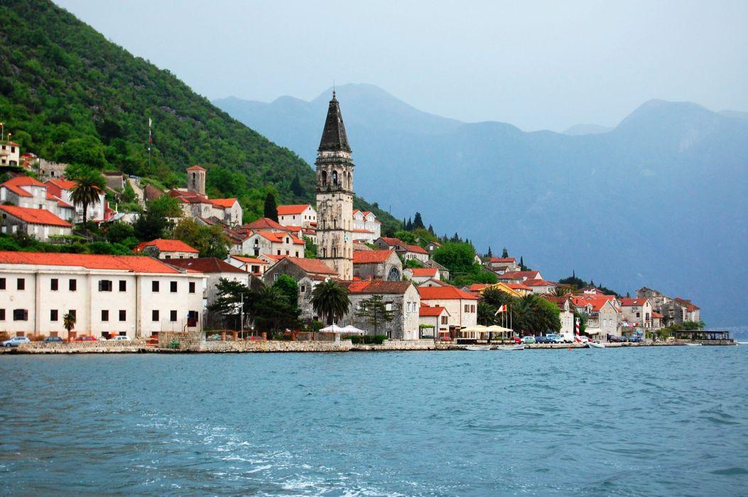 Montenegro Houses Sea Coast Perast Cities wallpaper