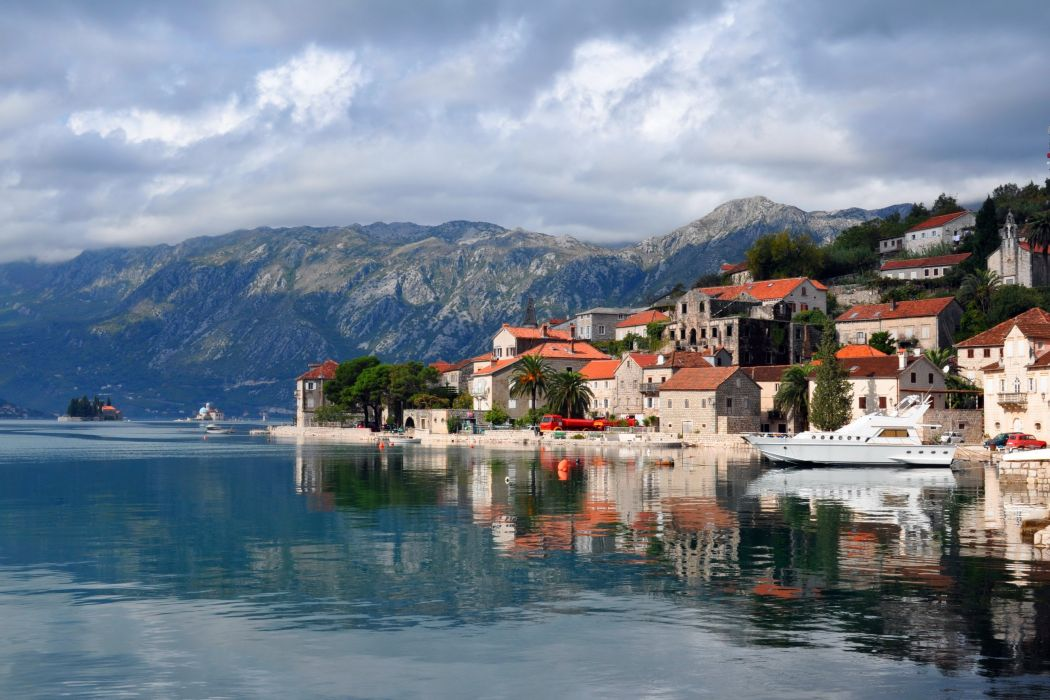Montenegro Sea Houses Coast Perast Cities wallpaper