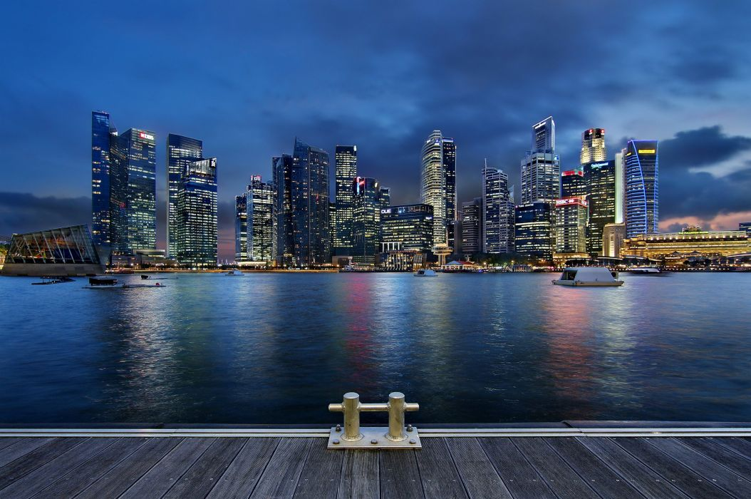 night skyscrapers architecture singapore wallpaper