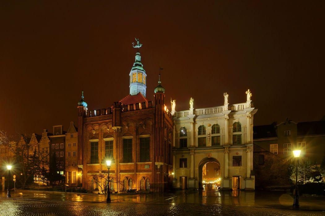 Poland Houses Gdansk Night Street lights Street Cities wallpaper