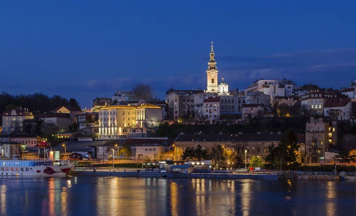 Rivers Houses Belgrade Serbia Night Street lights Cities wallpaper