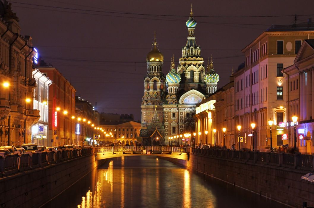 Russia St_ Petersburg Temples Houses Bridges Night Street lights Canal Cities wallpaper