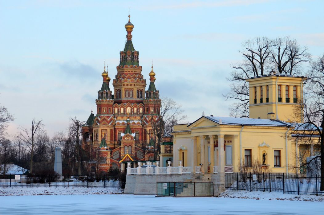 Russia St_ Petersburg Temples Winter Snow wallpaper
