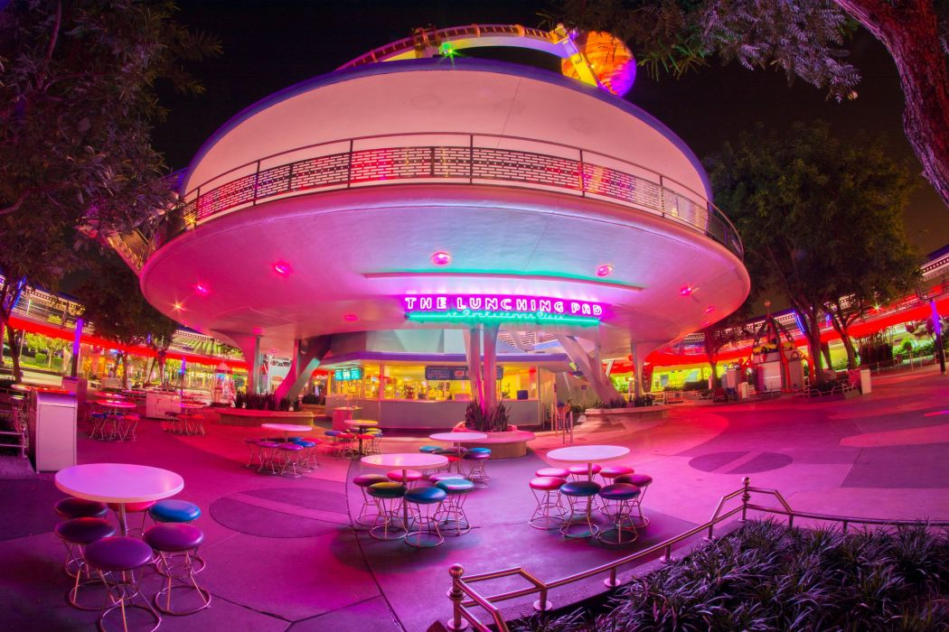 USA Disneyland Parks California Anaheim HDR Night Design Cafe Table Chairs wallpaper