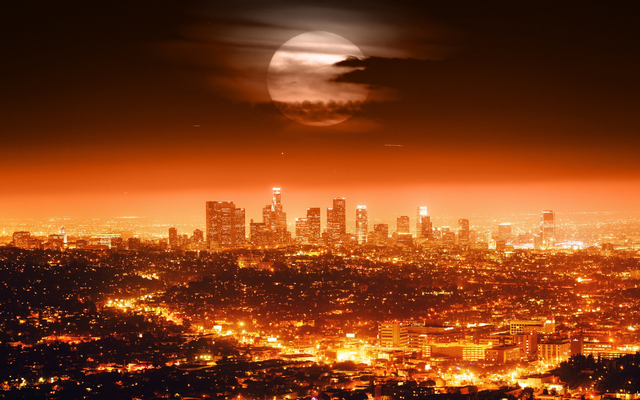 City At Night With Moon