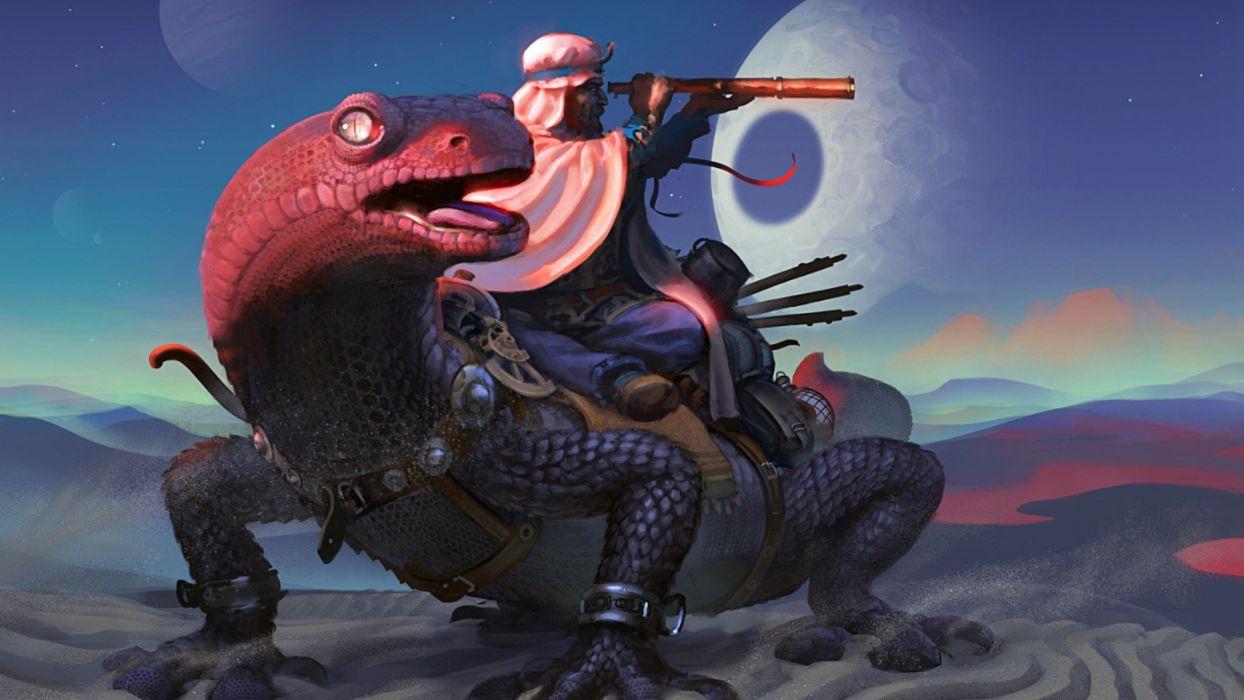 fantasy art lizards wallpaper