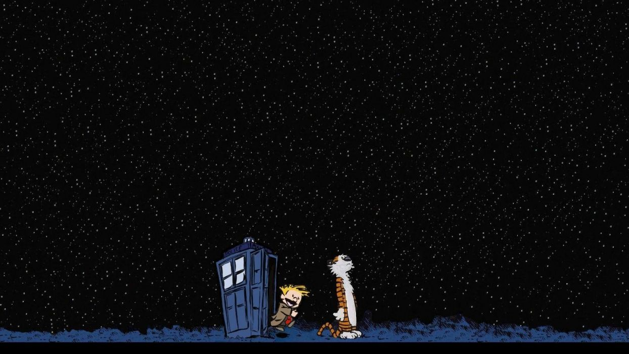 night stars TARDIS Calvin and Hobbes Doctor Who crossovers skyscapes wallpaper