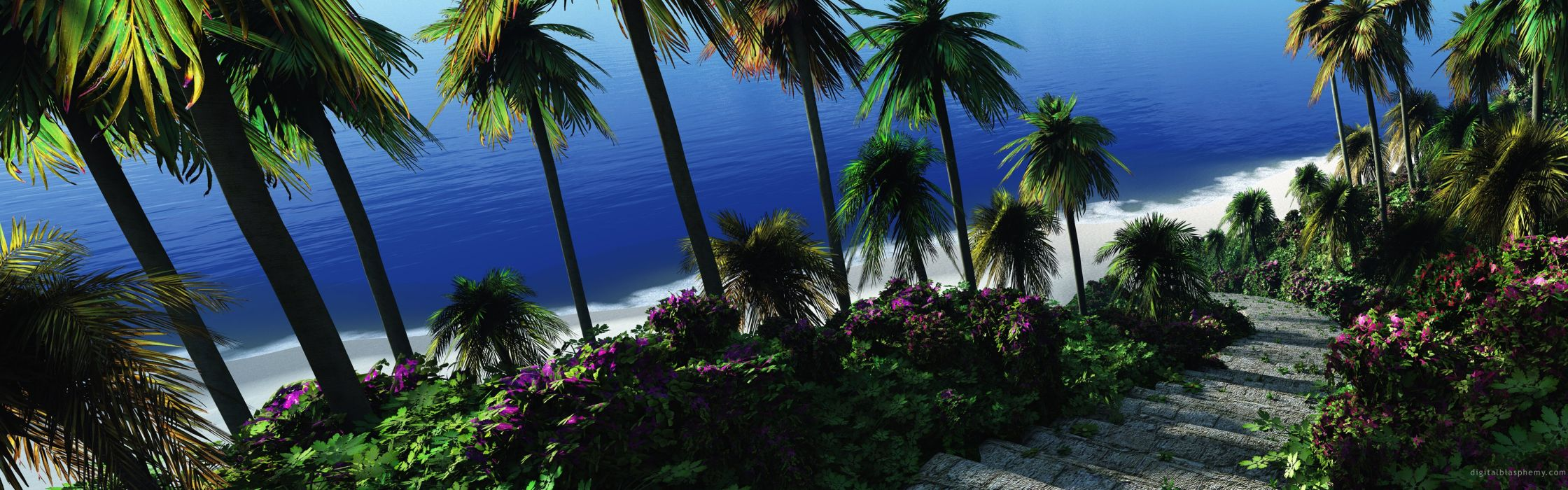 stairways digital art palm trees wallpaper