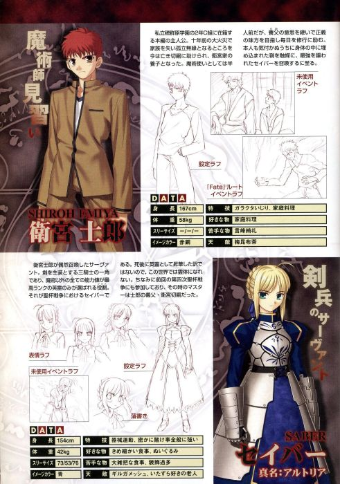 Fate/Stay Night night artbook artwork Saber  story scene scans visual Fate series wallpaper