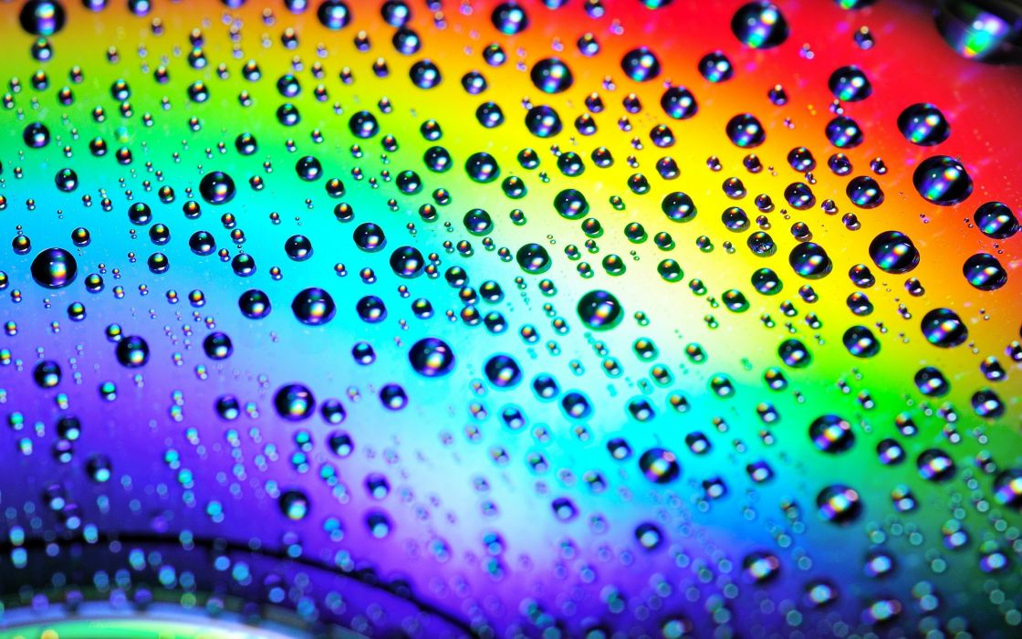 multicolor rainbows water drops disc reflections wallpaper