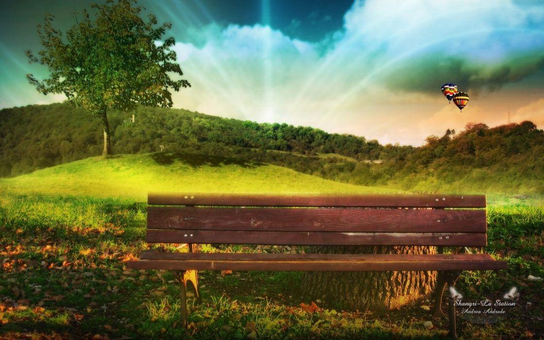 green trees bench hot air balloons Biutiful (movie) wallpaper