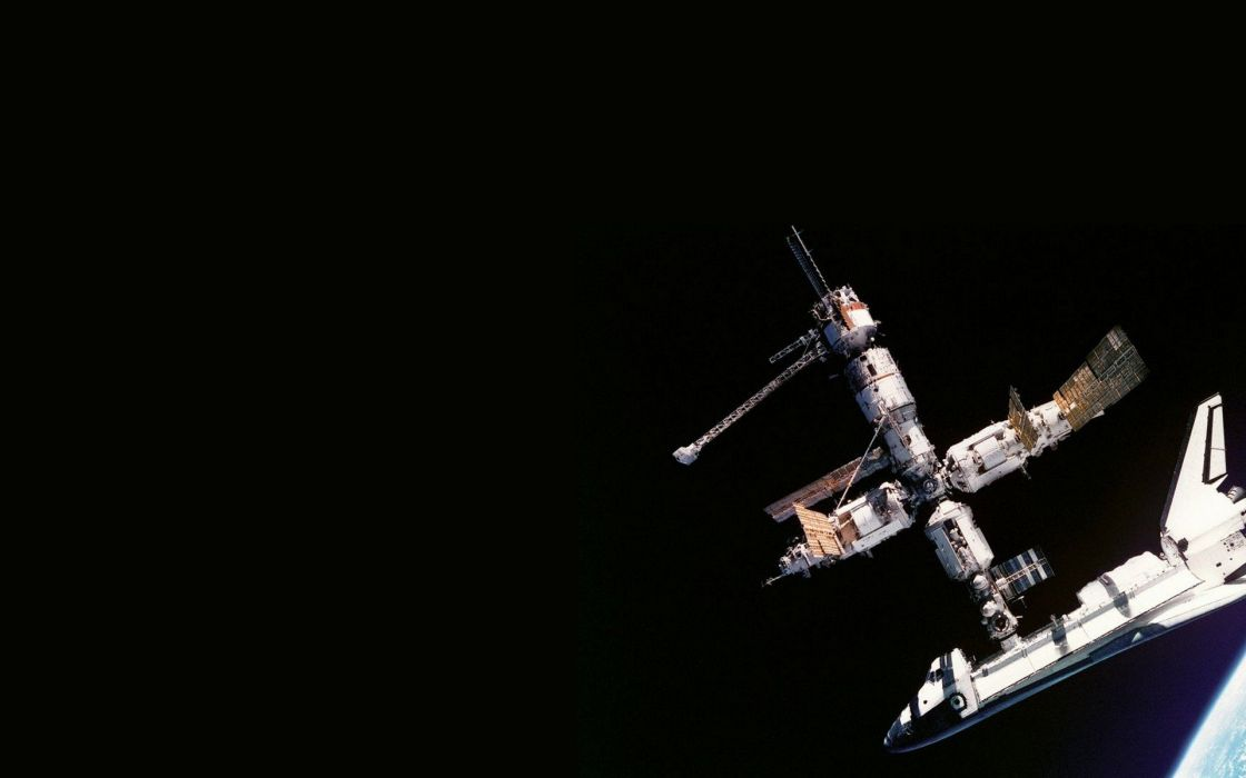 outer space space station shuttle wallpaper