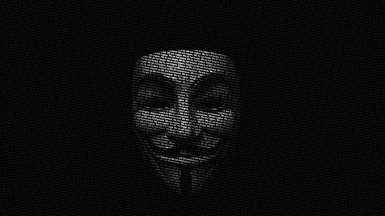 Anonymous Guy Fawkes typographic portrait wallpaper