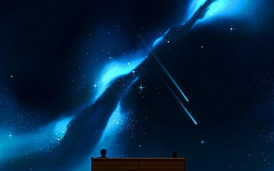 night stars digital art artwork wallpaper