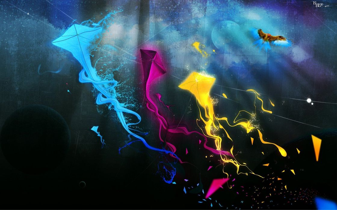 abstract kite CMYK simple wallpaper
