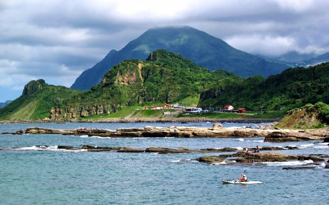 landscapes nature coast hills Taiwan sea wallpaper