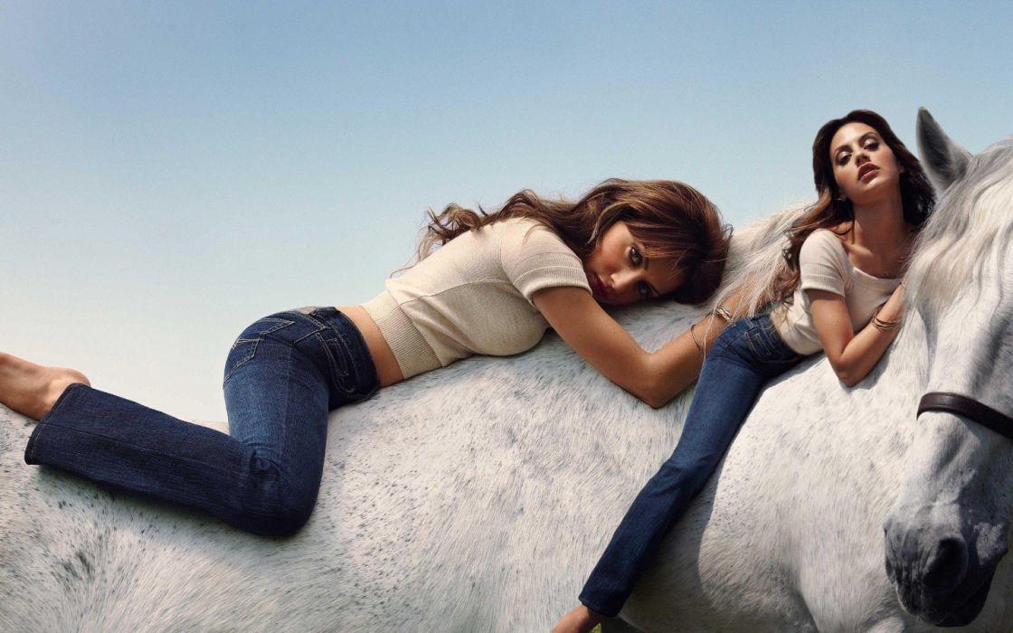 brunettes women horses girls with horses wallpaper