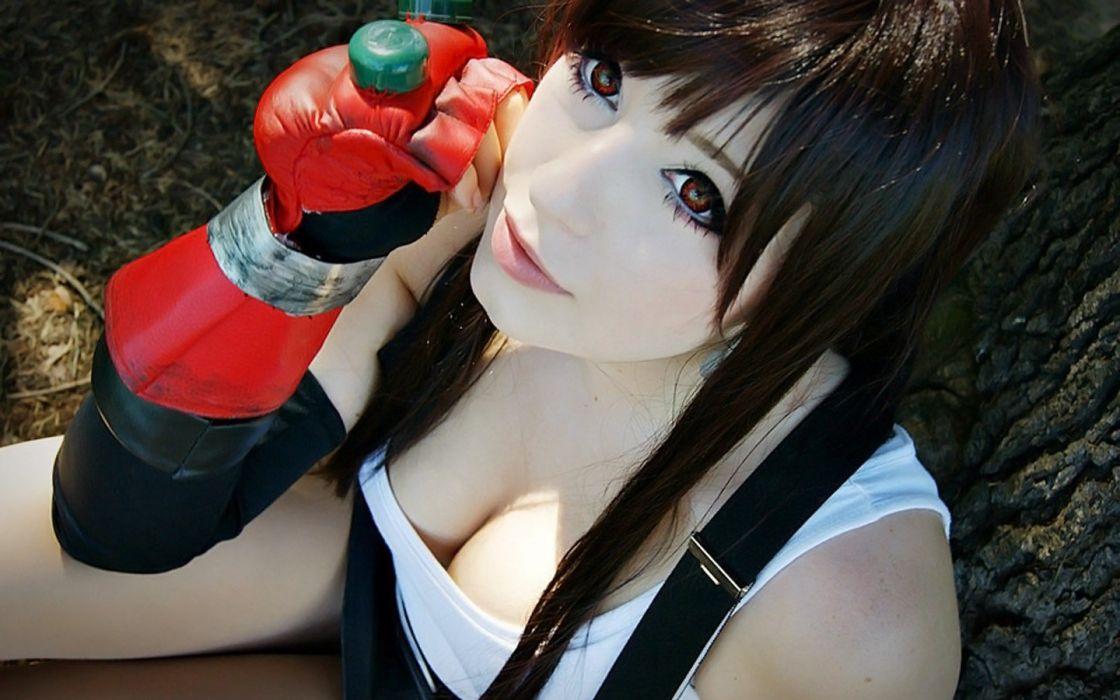 women cosplay cleavage red eyes Asians Tifa Lockheart wallpaper