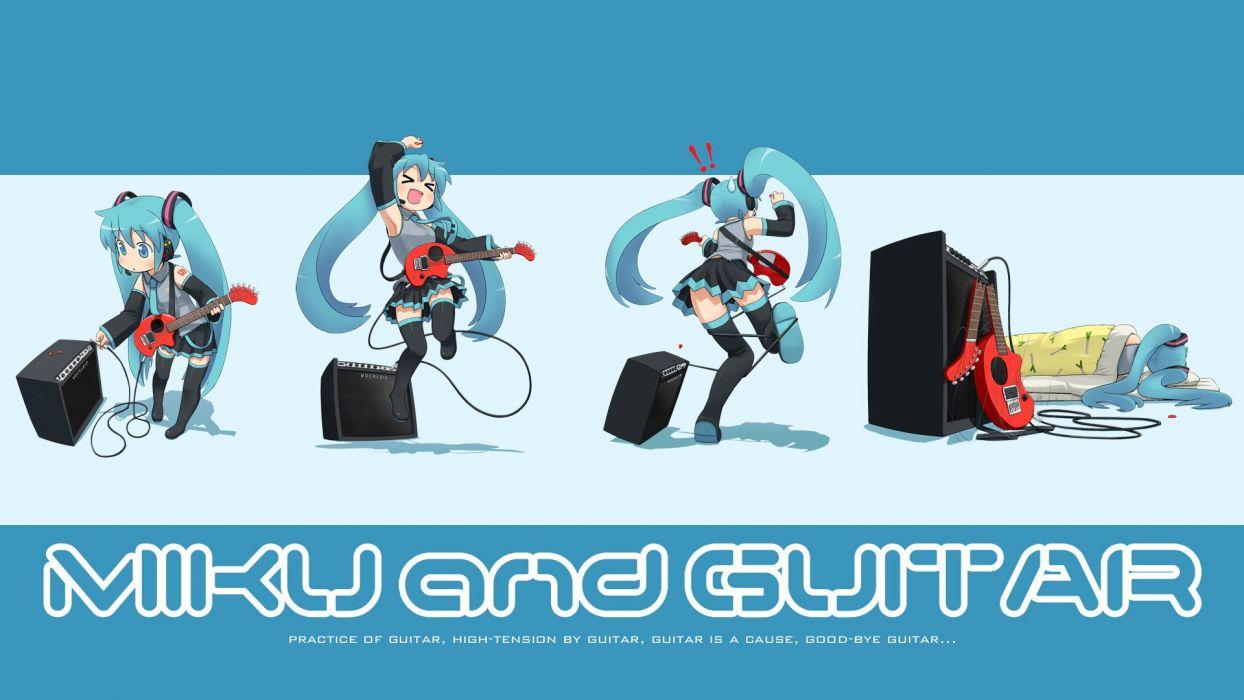 Vocaloid Hatsune Miku guitars detached sleeves wallpaper