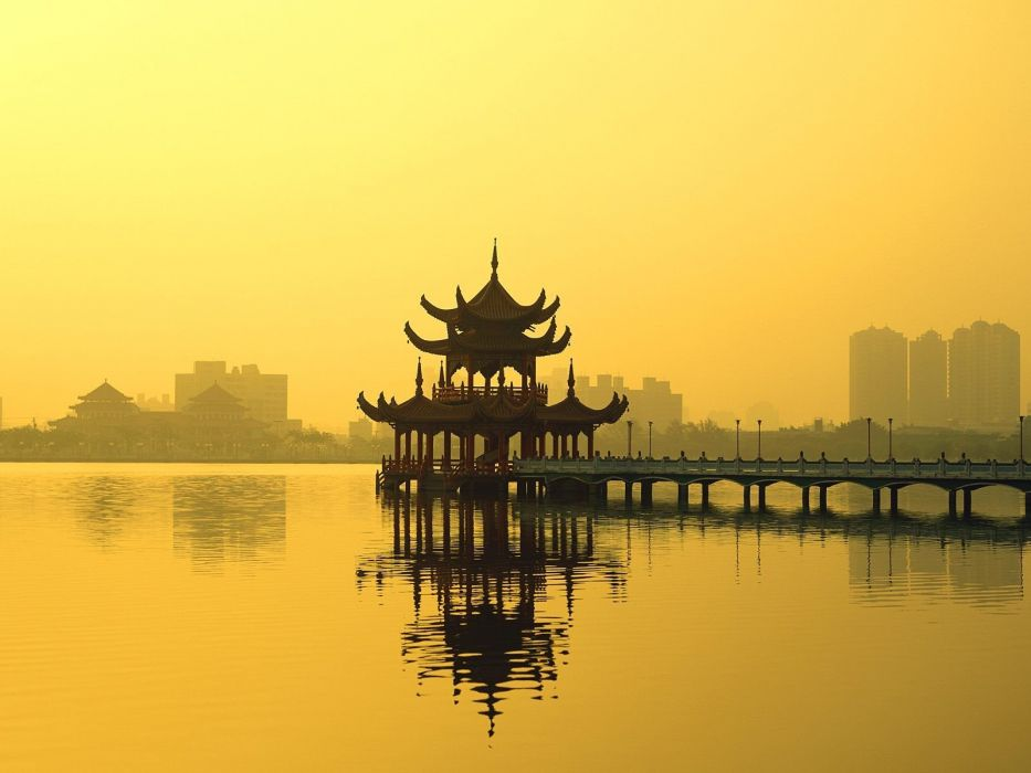 landscapes Asians lakes temples reflections wallpaper