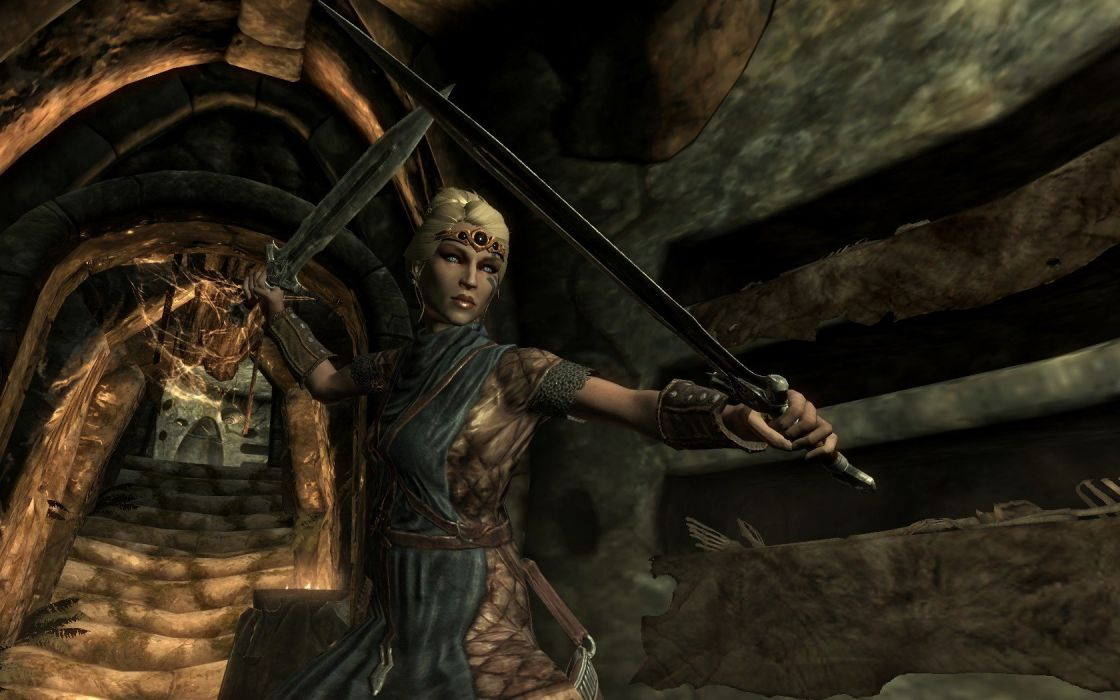 blondes women dungeons swords The Elder Scrolls V: Skyrim wallpaper