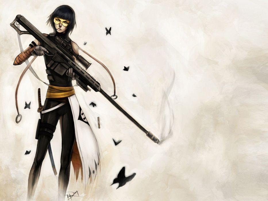 Bleach Soifon girls with guns captains artwork simple background butterflies wallpaper