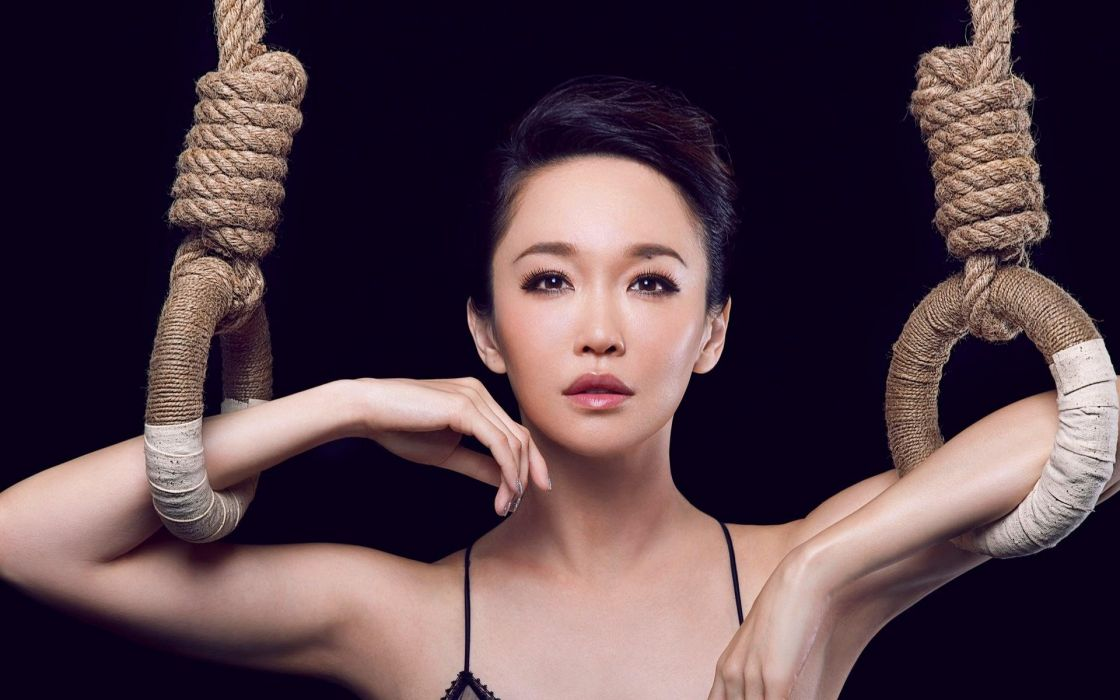 brunettes women actress Asians singers simple background black background gymnastics Fann Wong wallpaper