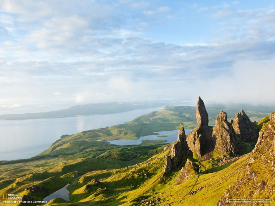 water mountains landscapes nature rocks National Geographic Scotland Isle of Skye wallpaper