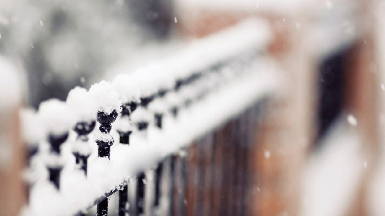 winter snow fences depth of field wallpaper