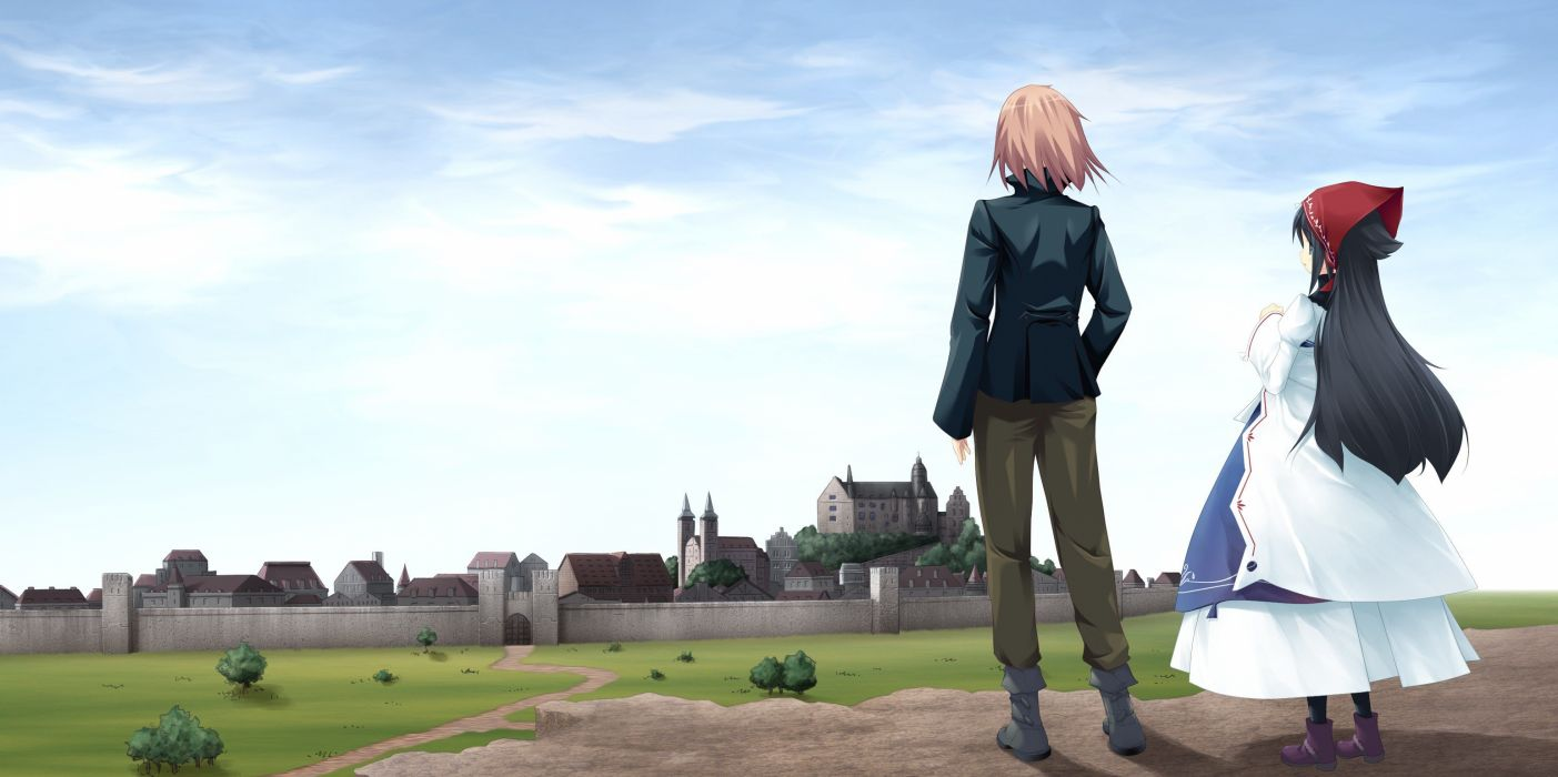 castles cityscapes dress anime wallpaper