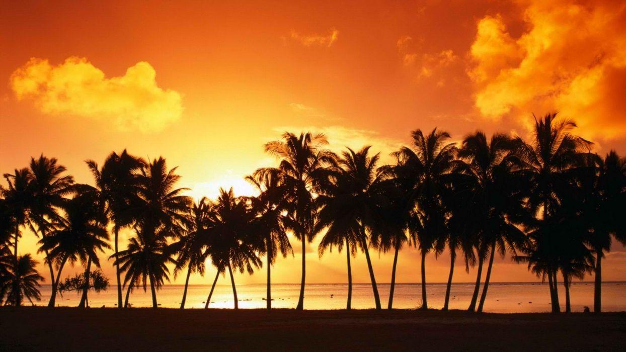 sunset Cook Islands islands wallpaper