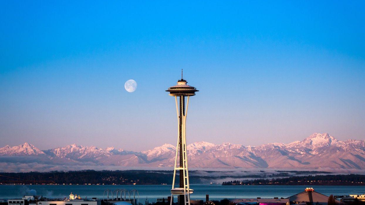 sunrise nature cityscapes needles architecture Moon Seattle wallpaper