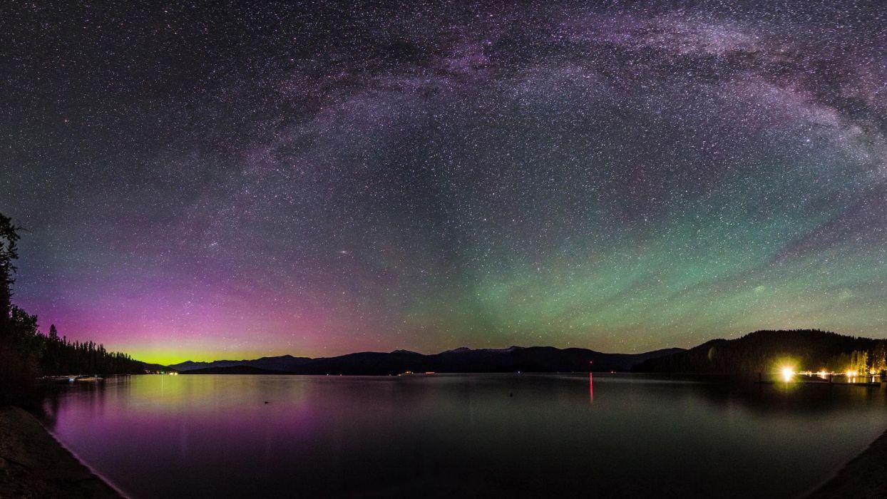 Aurora Borealis Northern Lights Night Stars Lake wallpaper