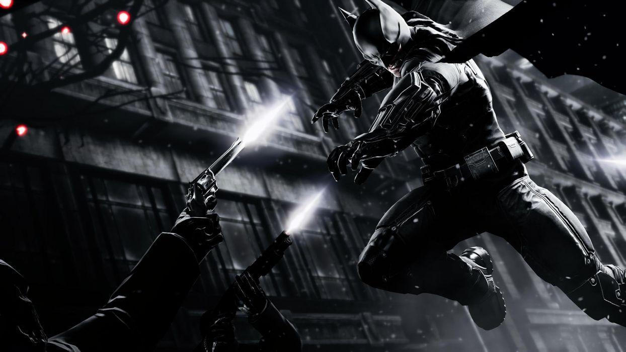 Batman Arkham Origins Batman Jump Handgun BW wallpaper