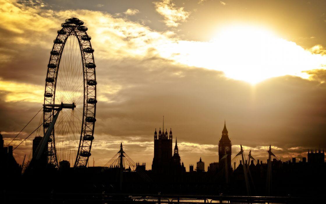 Big Ben London Building Ferris Wheel Sunlight wallpaper