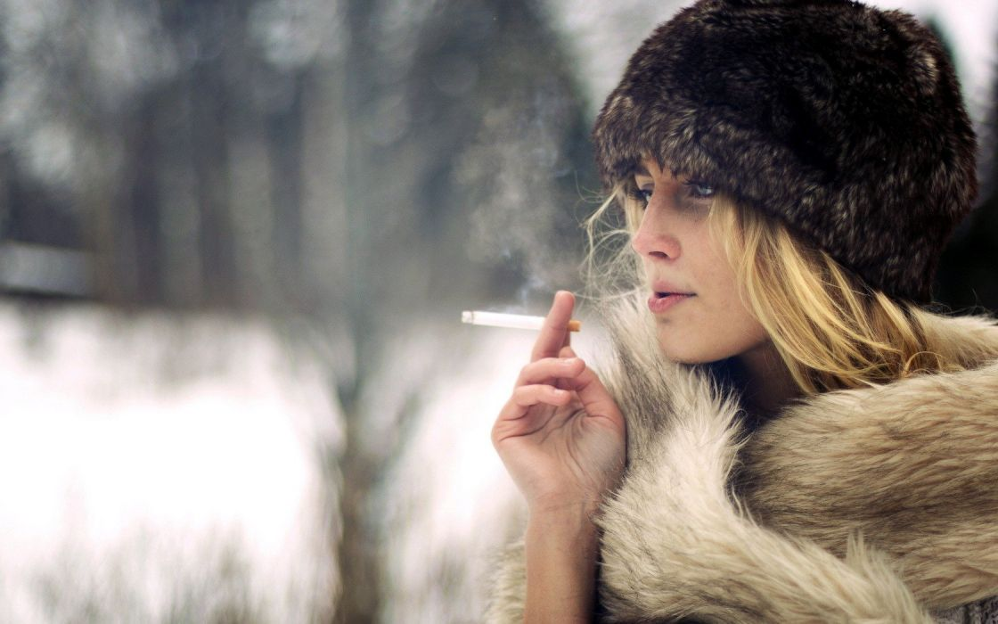 Blonde Winter Smoking Cigarette wallpaper