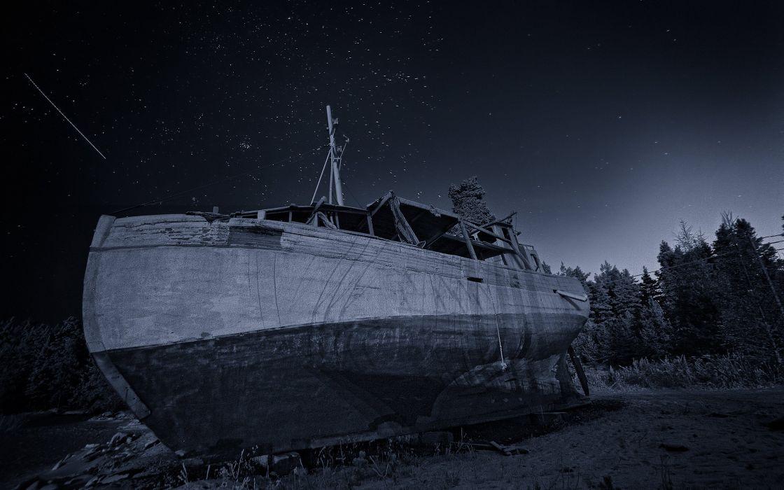 Boat Beached Night Abandon Deserted Stars wallpaper