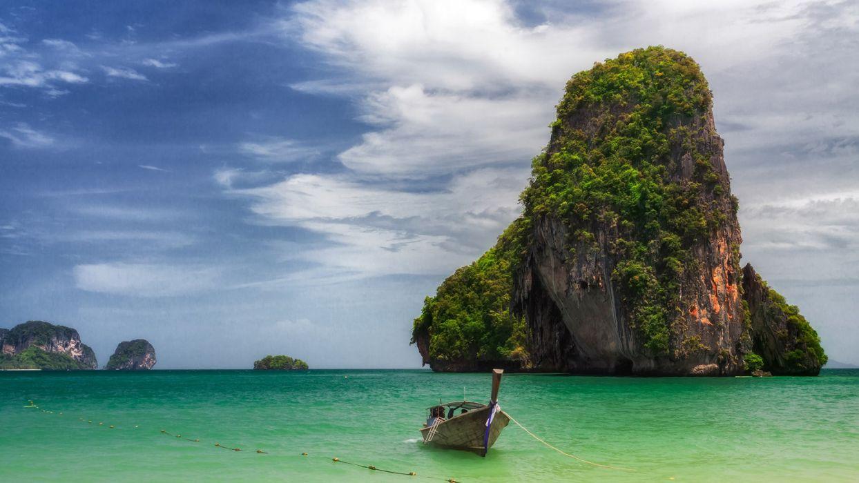 Boat Tropical Ocean Island wallpaper