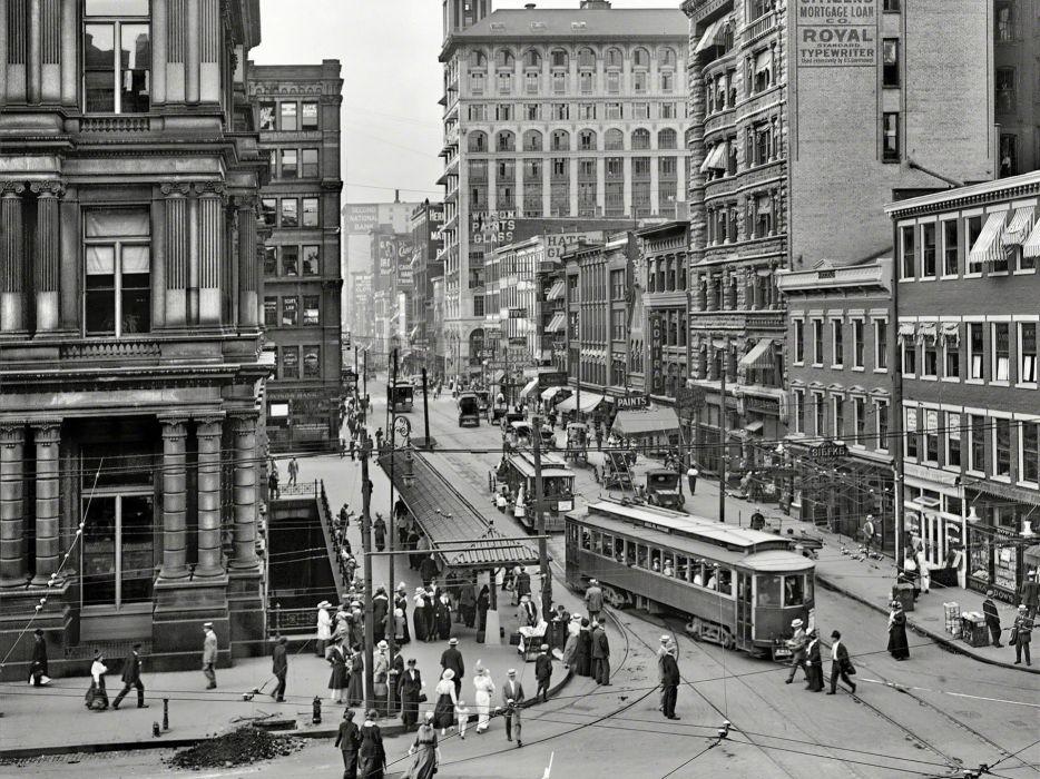 Buildings BW Street Carriage Trolley Cincinnati wallpaper