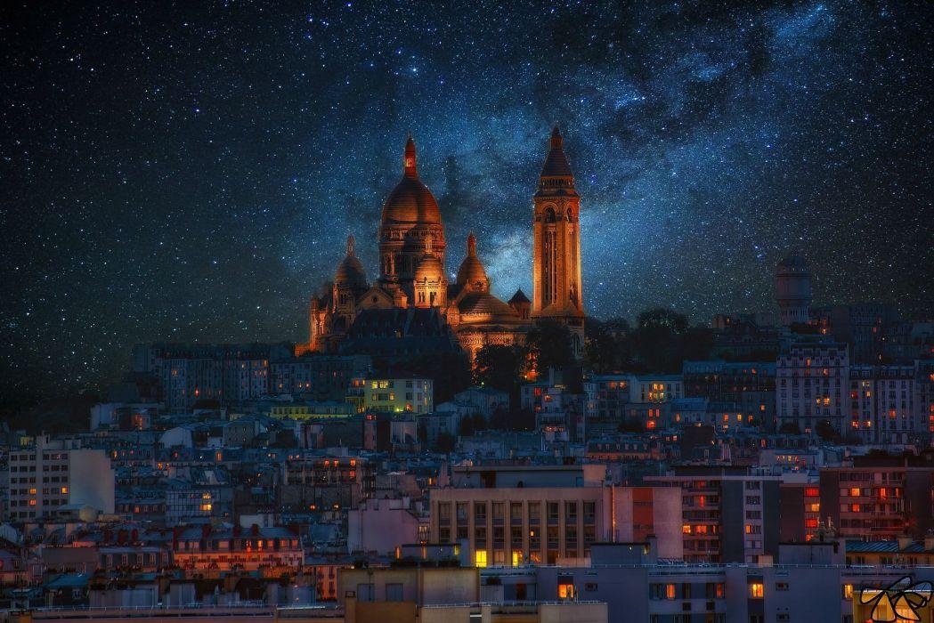 Buildings Night Stars Milky Way Galaxy wallpaper